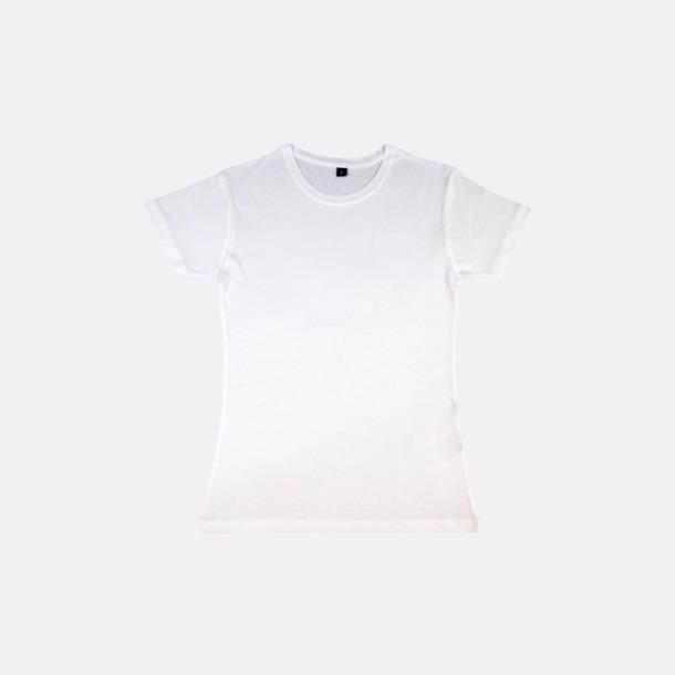 Vit (dam) Eko t-shirts i viskos- & bomullsblandning med reklamtryck