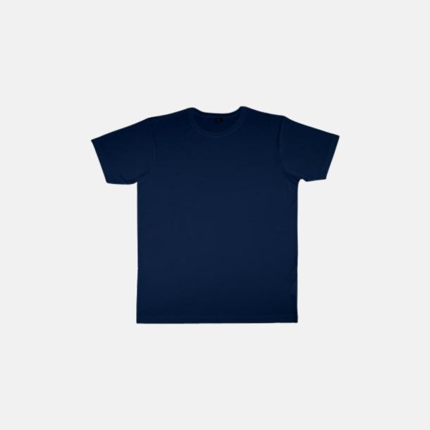 Marinblå (herr) Eko t-shirts i viskos- & bomullsblandning med reklamtryck
