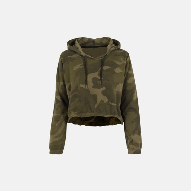 Olive Camo Kamouflage mönstrade damhuvtröjor med reklamtryck