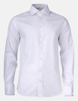 Vit (herr) Exklusiva easy-care skjortor med reklamtryck