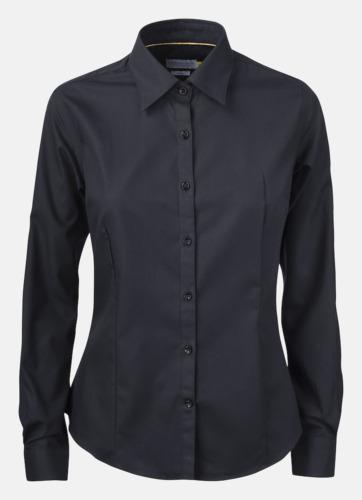 Svart (dam) Exklusiva easy-care skjortor med reklamtryck