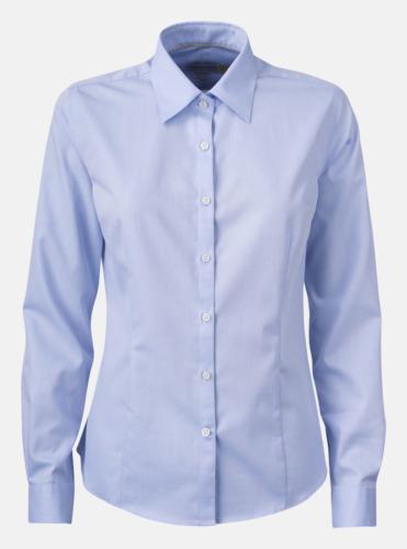 Ljusblå (dam) Exklusiva easy-care skjortor med reklamtryck