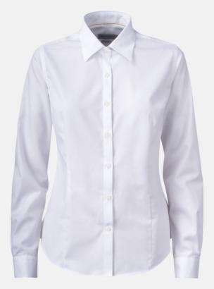 Vit (dam) Exklusiva easy-care skjortor med reklamtryck