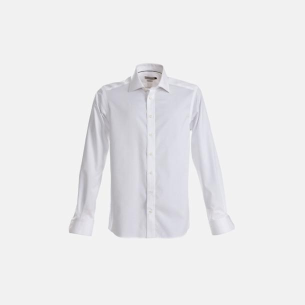 Vit (herr) Exklusiva bomullsskjortor med reklamtryck