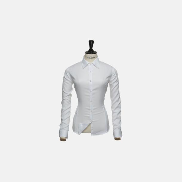 Vit (dam) Exklusiva bomullsskjortor med reklamtryck