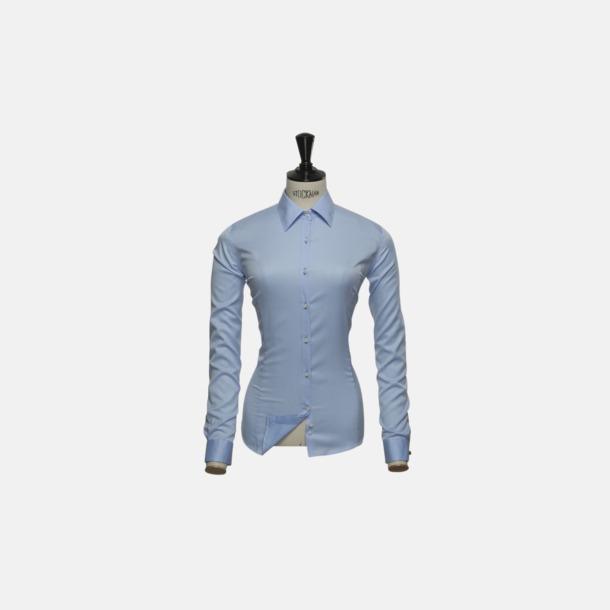 Ljusblå (dam) Exklusiva bomullsskjortor med reklamtryck