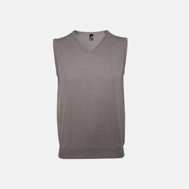Medium Grey (solid) Ärmlösa pullovers med reklamlogo