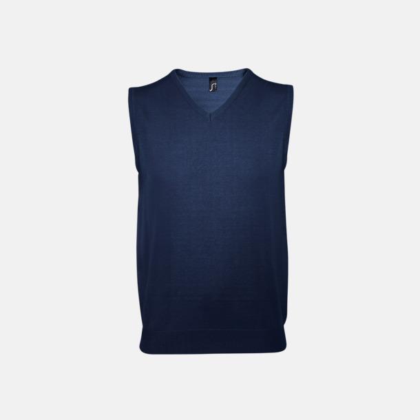 Marinblå Ärmlösa pullovers med reklamlogo