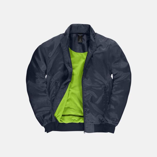 Marinblå/Neon Green (herr) Vind- & vattentäta jackor med reklamtryck