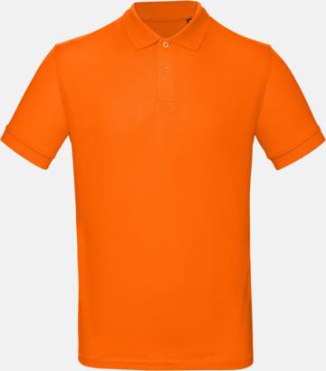Orange (herr) Neutrala eko pikéer med reklamtryck