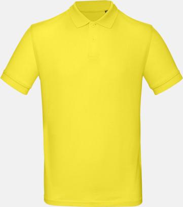 Solar Yellow (herr) Neutrala eko pikéer med reklamtryck