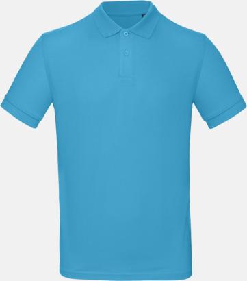 Very Turquoise (herr) Neutrala eko pikéer med reklamtryck
