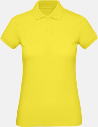 Solar Yellow (dam) Neutrala eko pikéer med reklamtryck