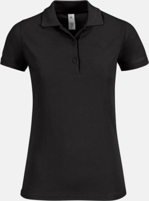 Svart Pikétröjor med tryck för dam