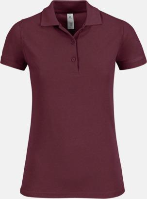 Burgundy Pikétröjor med tryck för dam
