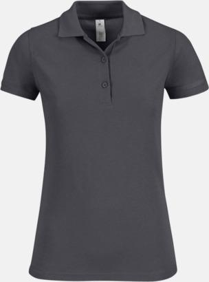 Mörkgrå (solid) Pikétröjor med tryck för dam