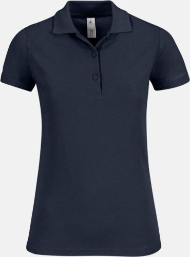 Marinblå Pikétröjor med tryck för dam