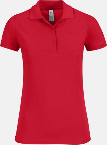Röd Pikétröjor med tryck för dam