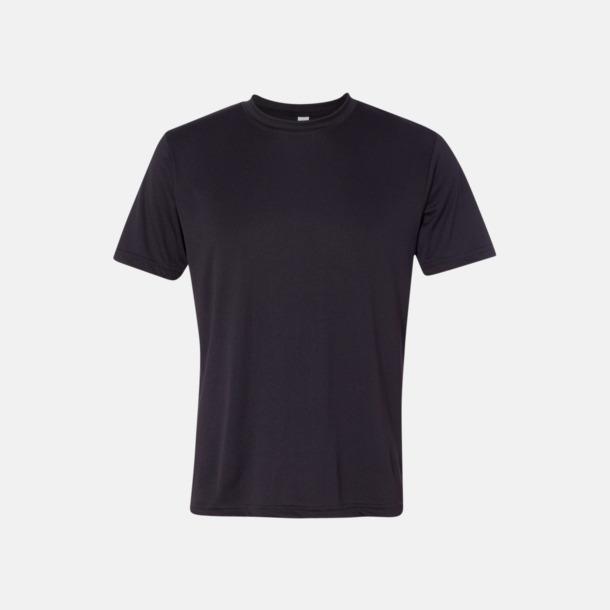 Svart (unisex) Kortärmade funktions t-shirts med reklamtryck