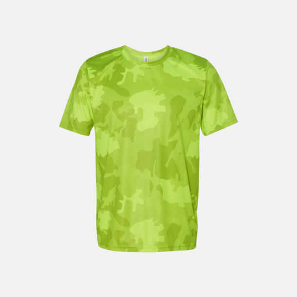 Sport Safety Yellow Laser Camo (unisex) Kortärmade funktions t-shirts med reklamtryck