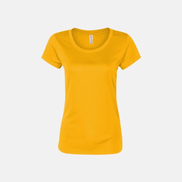 Sport Athletic Gold (dam) Kortärmade funktions t-shirts med reklamtryck