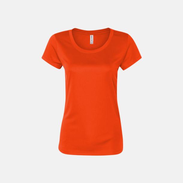 Sport Orange (dam) Kortärmade funktions t-shirts med reklamtryck