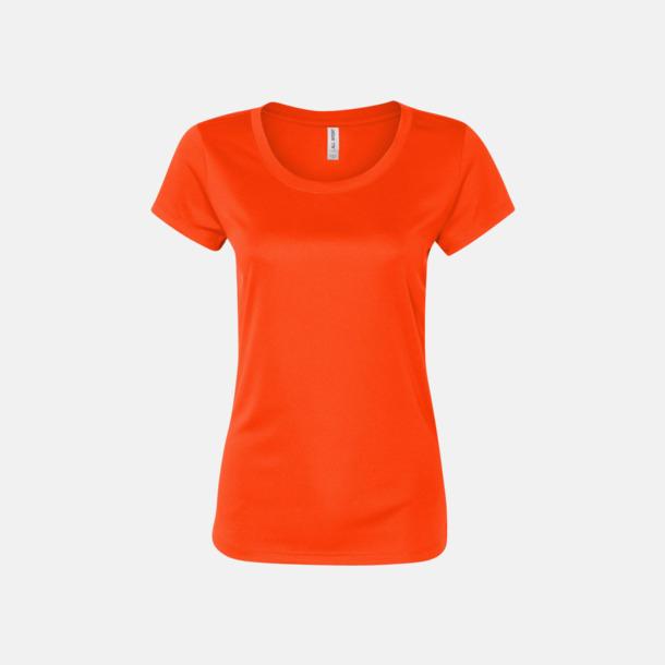 Sport Safety Orange (dam) Kortärmade funktions t-shirts med reklamtryck