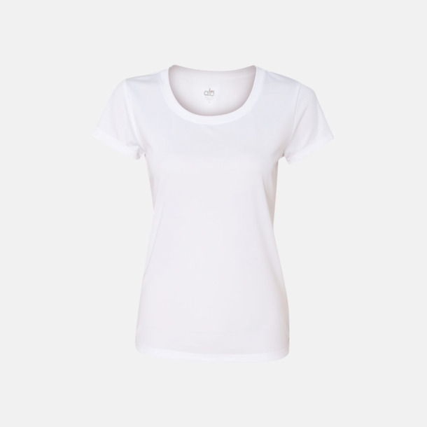 Vit (dam) Kortärmade funktions t-shirts med reklamtryck