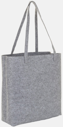 Grey Melange Tygpåsar i filt med reklamtryck