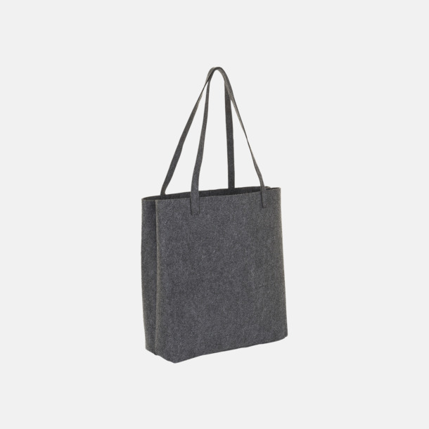 Charcoal Melange Tygpåsar i filt med reklamtryck