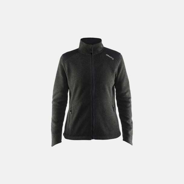 Black Melange/Svart/Platinum (dam) Stickade fleece jackor från Craft med eget reklamtryck