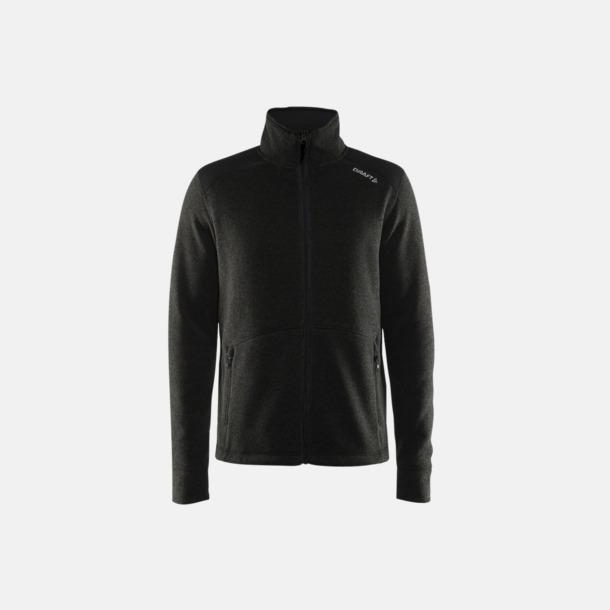 Black Melange/Svart/Platinum (herr) Stickade fleece jackor från Craft med eget reklamtryck