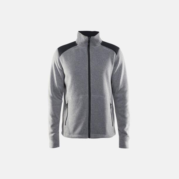 Grey Melange/Asphalt (herr) Stickade fleece jackor från Craft med eget reklamtryck