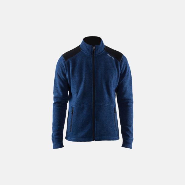 Deep/Svart (herr) Stickade fleece jackor från Craft med eget reklamtryck