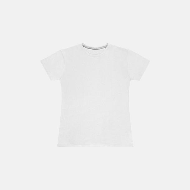 Vit (dam) Labelfria t-shirts med reklamtryck
