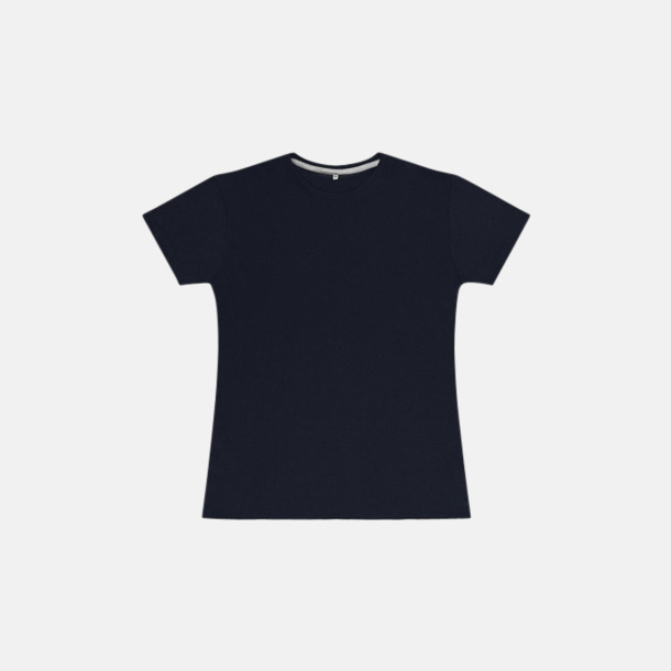Marinblå (dam) Labelfria t-shirts med reklamtryck