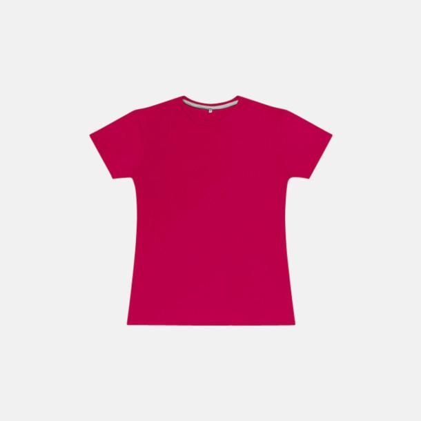 Mörkrosa (dam) Labelfria t-shirts med reklamtryck