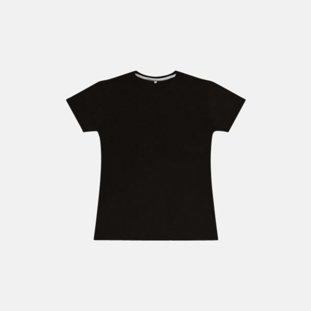 Dark Black (dam) Labelfria t-shirts med reklamtryck