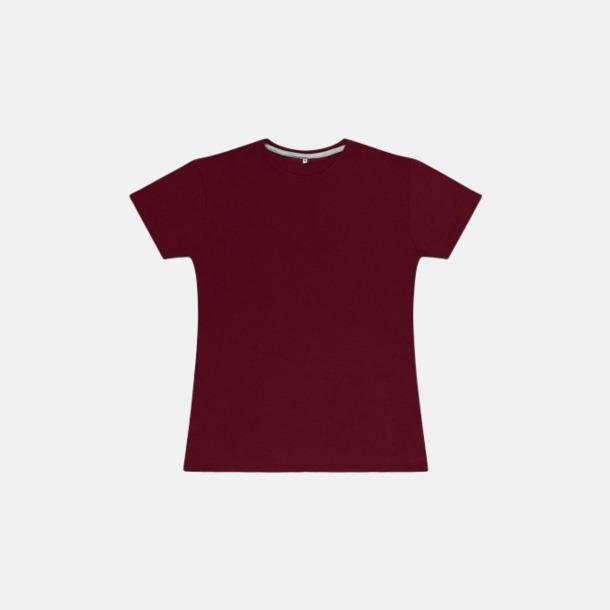Burgundy (dam) Labelfria t-shirts med reklamtryck