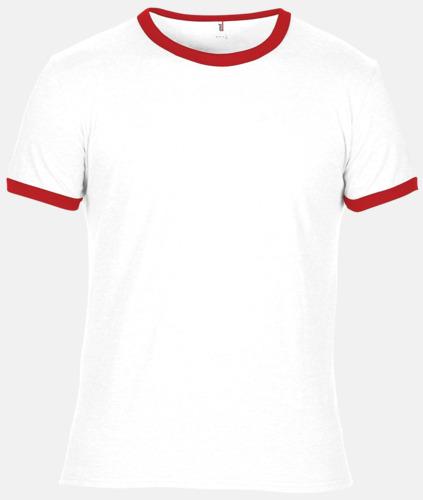 Vit / Röd T-shirts med kontrast ärmslut och krage - med reklamtryck