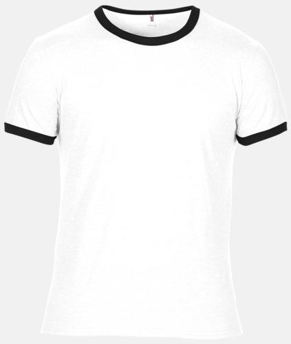 Vit / Svart T-shirts med kontrast ärmslut och krage - med reklamtryck