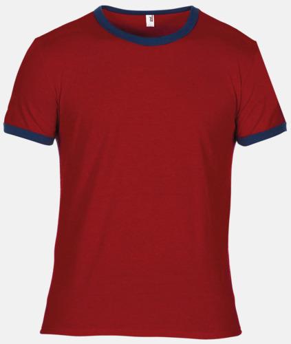 Independence Red/Marinblå T-shirts med kontrast ärmslut och krage - med reklamtryck