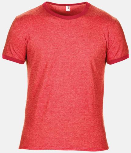 Heather Red/Röd T-shirts med kontrast ärmslut och krage - med reklamtryck