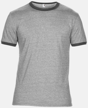 Heather Grey/Heather Dark Grey T-shirts med kontrast ärmslut och krage - med reklamtryck