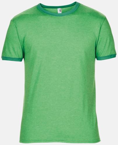 Heather Green/Kelly Green T-shirts med kontrast ärmslut och krage - med reklamtryck
