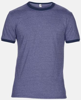 Heather Blue/Marinblå T-shirts med kontrast ärmslut och krage - med reklamtryck