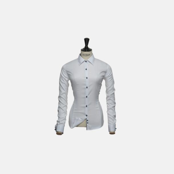 Vit (dam) Exklusiva skjortor i klassisk design med reklamtryck