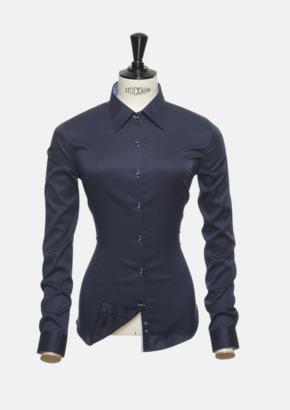 Marinblå/Sky Blue (dam) Exklusiva skjortor i klassisk design med reklamtryck