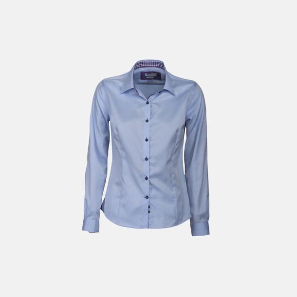 Sky Blue/Lila (dam) Exklusiva skjortor i klassisk design med reklamtryck