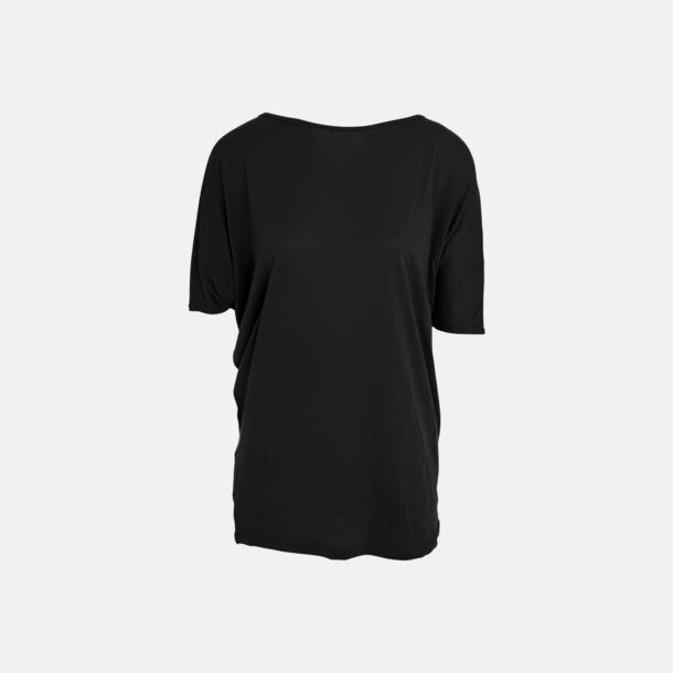 Svart Eko oversize dam t-shirts med reklamtryck